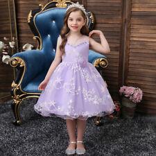 Fashion Kids Girls Tulle Princess Tutu Dress Prom Bridesmaid Wedding Gown 3-12Y