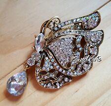 Butterfly Brooch Pin Clear Diamante Drop Dangle Rhinestone Crystal Gold tone