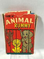 Vintage Animal Rummy Playing Card Deck Game with Box Complete Russell