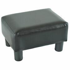 PU Leather Footstool Black