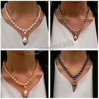 "Fashion 8mm South Sea Shell Pearl Drop 12X16mm Pendant Necklace 18"" AAA+"