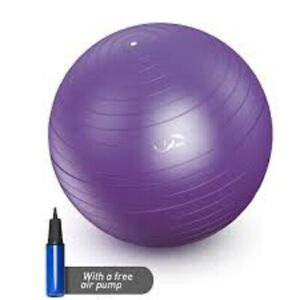 PURPLE Anti-Burst Fitness Ball 55cm with Pump Exercise Yoga Swimming Stability