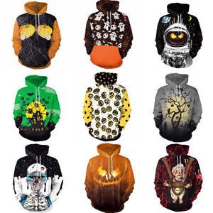 Halloween 3D Graphic Print Men Women Hoodie Sweatshirt Jacket Pullover Tops US