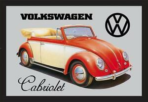 VW Volkswagen Käfer Cabriolet Nostalgie Barspiegel Spiegel Bar Mirror 22 x 32 cm