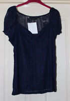 BNWT Dorothy Perkins Soft Lace Navy Top, Milkmaid Style, Size 18 - Lovely!