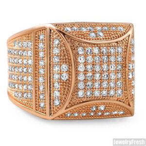 Rose Gold Fancy Square Face 360 CZ Jumbo Ring for Men