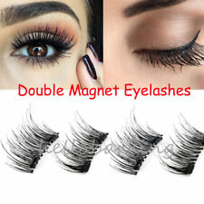 4PCS Magnetic Eyelashes 3D Reusable Double Magnet False Eye Lashes Extension UK