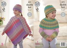 King Cole 4575 Knitting Pattern Poncho, Hat, Shoulder & Wrist Warmers Sprite DK