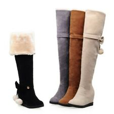 Womens Warm Over The Knee Boots Thigh High Lace Up Long Booties Bow Heels Shoes