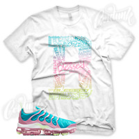 WHITE B BLESSED Sneaker T Shirt for Nike Air Vapormax Plus Teal Pink Barely Volt