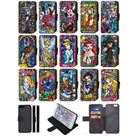 DISNEY STAINED GLASS CHARACTER Flip Phone Case Wallet iPhone 4 5 6 7 8 Plus X