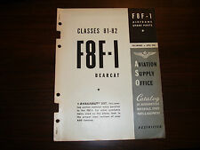 1945 F8F-1 Airframe Spare Parts Catalog ASO Issued Flight Manual - Original