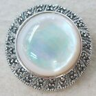 925 STERLING SILVER Marcasite Mother of Pearl or Tigers Eye Round Brooch