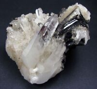HUEBNERITE RED TRANSLUCENCY CRYSTALS in & on CLEAR QUARTZ CRYSTALS from PERÚ.