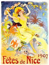 VINTAGE ADVERT NICE FAIR JULES CHERET 1907 MASK ART POSTER PRINT LV4552