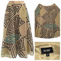 HOBBS Beige Sheer Tulle Skirt Size 12 UK Mid Length A Line Skirt