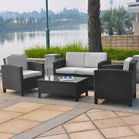 Geflochtenes 13-tlg Polyrattan Gartenmöbel Lounge Möbel Set Sofa Sessel Tisch