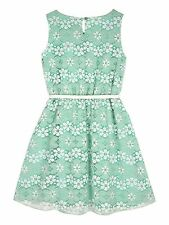 Yumi Girls Floral Lace Print Dress Age 7 - 8 Years BNWT RRP £42.95 Mint Green