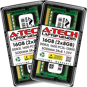 A-Tech 16GB 2 x 8GB PC3-12800 Laptop SODIMM DDR3 1600 Memory RAM PC3L 16G DDR3L