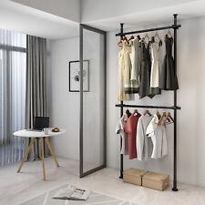 New listing Steel Portable Cloth Rack Cloth Hanger Garment Rack Bedroom Apartment 2 Pole