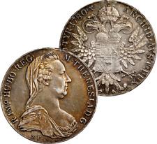 1780 SF AUSTRIA THALER SILVER COIN TONED CHOICE BU UNC RESTRIKE