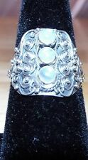 Sterling Silver .925 Three Stone Moonstone Ring Sz.8.5 New