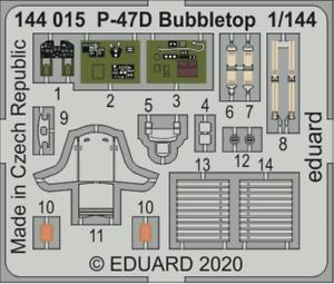 Eduard PE 144015 1/144 Republic P-47D Thunderbolt Bubbletop detail set Eduard