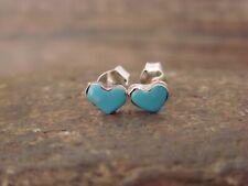 Zuni Indian Sterling Silver Turquoise Heart Post Earrings - Neha