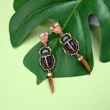 Boucles d'Oreilles Insect Coléoptères Long  Corne Yeux Tigre Marron Rose X24