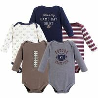 Hudson Baby Long Sleeve Bodysuits, 5-Pack, Football