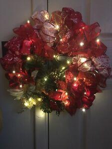 christmas wreath handmade With Lights
