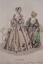 GRAVURE COULEURS LA MODE-OLD FASHION PRINT XIXe SIECLE COSTUME MD57