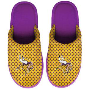 NWT NFL Minnesota Vikings Big Logo Slip On Scuff Slippers Womens Medium Polka Do