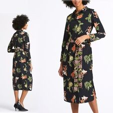 6aa96584e4 M&S Floral Print MIDI Long Sleeve SHIRT DRESS ~ Size 18 ~ BLACK Mix (rrp