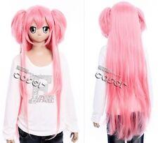 W-223 Puella magi madoka magica cosplay parrucca wig rosa pink 100cm lungo con 2 clip