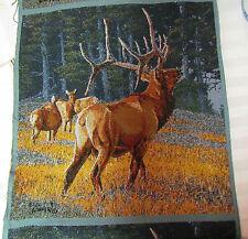 Rocky Mountain Bull Herd Elk rustic lodge Tapestry Fabric Pillow top 2 Panels