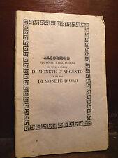 Numismatica - Ciccolini : Algorismo Cartocci Scudi Monete Oro Argento  Roma 1836