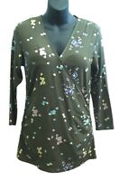 Boden Sz 12 Green Floral Viscose Knit Crossover Top V-Neck Side Ruching ¾ Sleeve