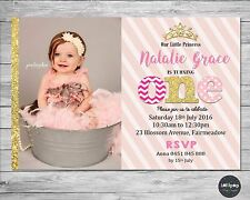 PRINCESS INVITATION 1ST BIRTHDAY PERSONALISED PHOTO INVITE FIRST PINK GOLD GIRL
