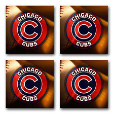 Chicago Cubs Baseball Rubber Square Coaster set (4 pack) SRC2004