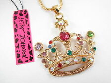 Betsey Johnson Cute fashion mosaic crystal crown pendant necklace # B107J