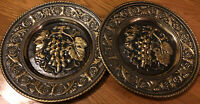 "Napco Vintage Pressed Brass Wall  Charger Grapes  11.5"" Set of 2  USA"
