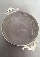 Antique c1924 Pierced Fleur de Lys Silver & Glass Twin Handled Caviar Dish
