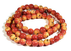 VINTAGE APPLE CORAL BEADS BEADED NECKLACE 27 1/2 INCHES LONG 2.3 OUNCES 66 GRAMS