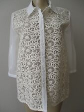 AUGUST SILK OFF WHITE EMBROIDERED 3/4 SLEEVE SEE TRUE BLOUSE SIZE L - NEW