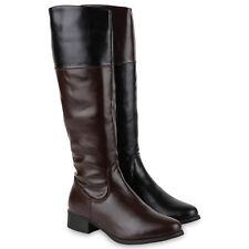 Damen Reiterstiefel Leder-Optik Langschaft Boots Klassisch 812637 Schuhe