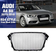 RS4 Style Front Bumper Black Mesh Grille For AUDI 2013 2014 2015 2016 A4 B8