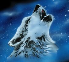 NEW DESIGN!  HOWLING WOLF Airbrushed Black T-shirt design, Any size up to 6X