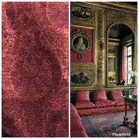 SWATCH- Designer Velvet Chenille Burnout Fabric - Antique Red Floral