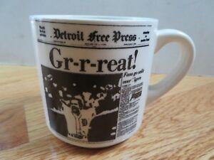 "1984 DETROIT TIGERS World Champions 3.5"" Ceramic Mug KIRK GIBSON GR-R-REAT!!!"